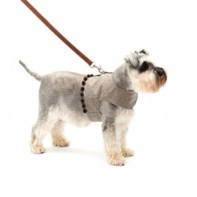 Harnais souple en tweed gris avec pompons par Mutts & Hounds