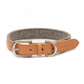 "Collier ""Camelo"" en cuir et en tweed gris par Mutts & Hounds"