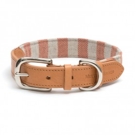 "Collier ""Camelo"" en cuir et tissus rayé orange par Mutts & Hounds"